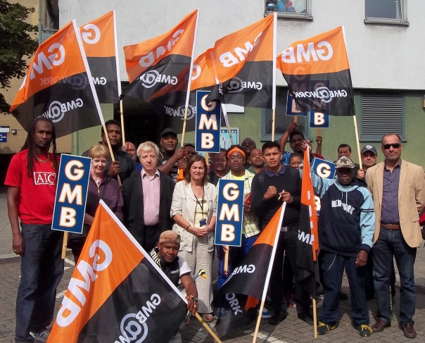 GMB OCS strikers with Labour Cllrs and supporters 2 27.8.13