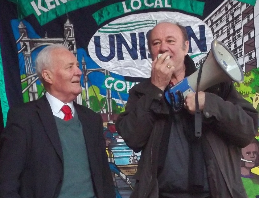 Local legend Tony Benn at the picket