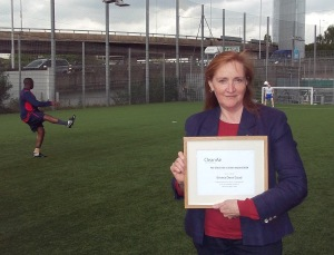 Cllr E Dent Coad at Sports Pitches, Clean Air in London Award 2014
