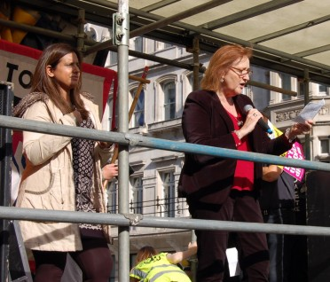 Emma Dent Coad MP giving her speech at the anti DFLA march