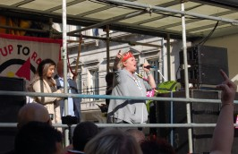 A disability campaigner giving a passionate speech at the anti DFLA march