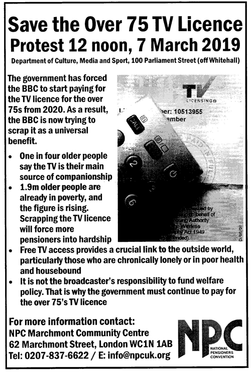 Save the over 75 TV license